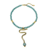 Semi Precious Amazonite Stone Snake Pendant Necklace