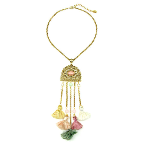 Spring Blush Garden Gate Tassel Necklace