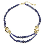 Semi Precious Gold Station Navy Stone Necklace