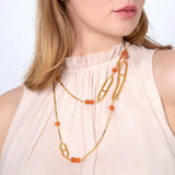Semi Precious Long Carnelian Stone Necklace