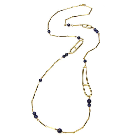 Semi Precious Long Navy Stone Necklace