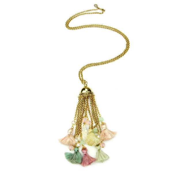 Spring Blush Carousel Tassel Necklace