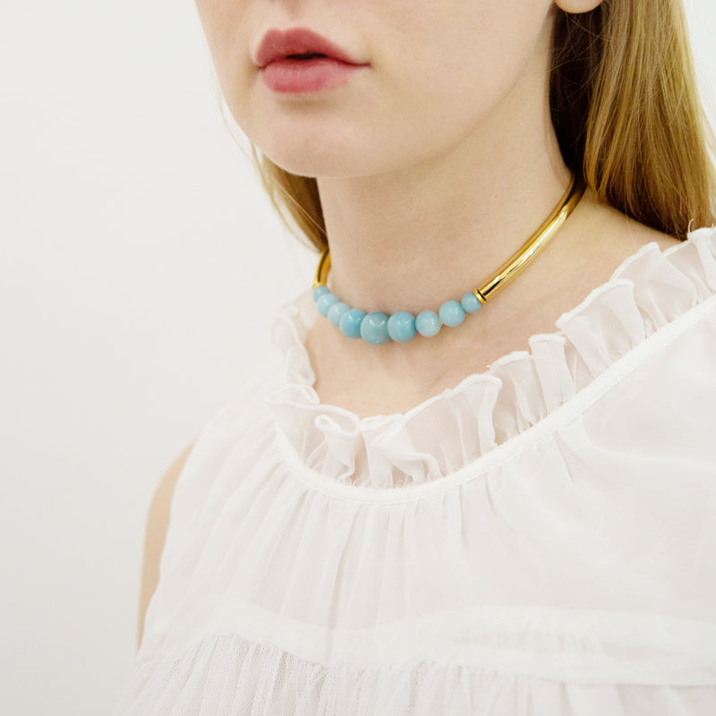 Semi Precious Amazonite Stone Choker Necklace