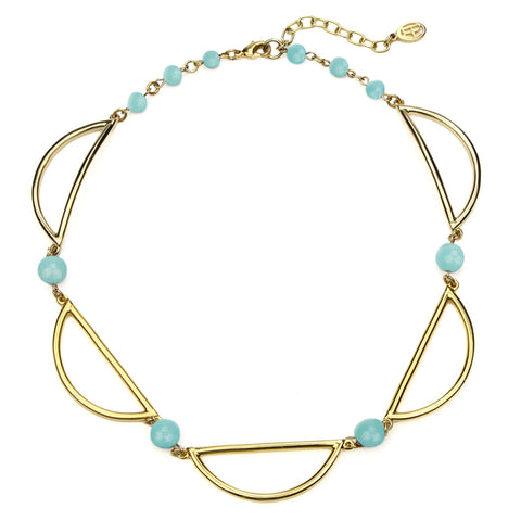 Semi Precious Half Moon Amazonite Stone Necklace