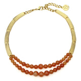 Semi Precious Carnelian Stone Layer Necklace