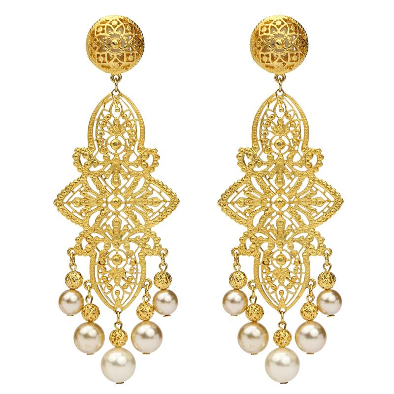 Gold & Pearl Dame Clip On Earrings - Ben-Amun