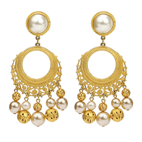 Gold & Pearl Sphere Pearl Drop Clip On Earrings | Gold Earrings | Pearl Earrings | Statement Earrings | Ben-Amun