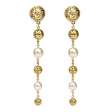 Gold & Pearl Tier Drop Clip On Earrings - Ben-Amun