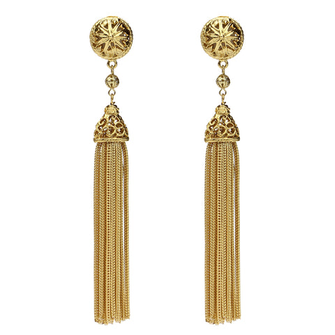 Gold & Pearl Sphere Tassel Drop Clip On Earrings - Ben-Amun