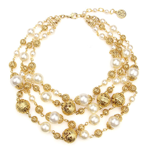 Gold & Pearl Multi Layer Necklace | Gold Necklace | Pearl Necklace | Statement Necklace | Ben-Amun
