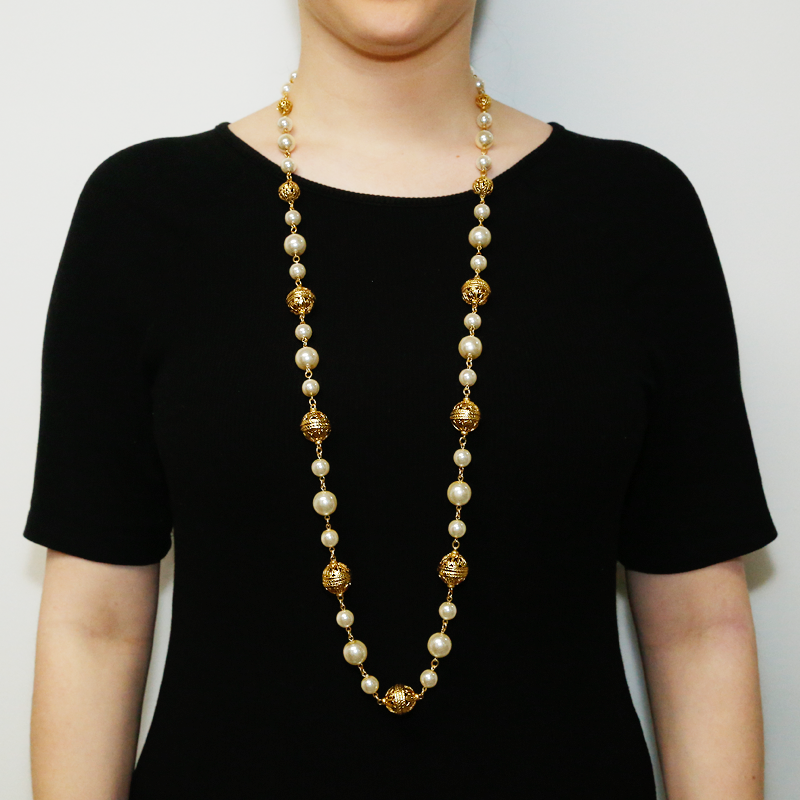 Gold & Pearl Long Necklace - Ben-Amun