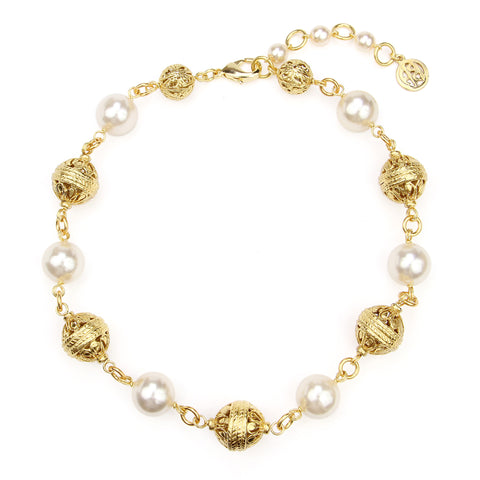 Gold & Pearl Statement Necklace | Gold Necklace | Pearl Necklace | Ben-Amun