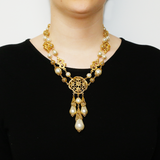 Gold & Pearl Medallion Pendant Drop Necklace - Ben-Amun