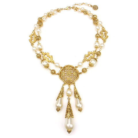 Gold & Pearl Medallion Pendant Drop Necklace