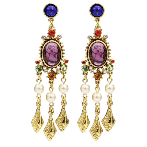 Victoria Multicolor Oval Crystal Pearl Drop Post Earrings | Swarovski | Chandelier | Statement | Ben-Amun