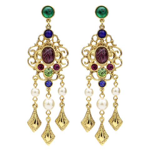 Victoria Multicolor Lattice Crystal Pearl Drop Post Earrings | Chandelier | Gold | Statement Earrings | Ben-Amun