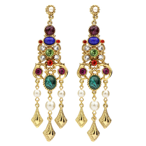 Victoria Multicolor Trivoli Crystal Pearl Drop Post Earrings | Chandelier | Statement Earrings | Gold | Ben-Amun