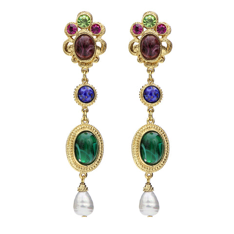 Victoria Multicolor Vienna Crystal Pearl Drop Clip Earrings | Statement Earrings | Colored Earrings | Swarovski | Beautiful Earrings | Luxury Earrings | Ben-Amun