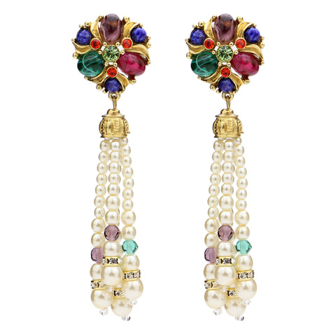 Victoria Multicolor Crystal Pearl Tassel Post Earrings | Statement Earrings | Colored Earrings | Beautiful | Luxury | Jewelry | Statement Earrings | Ben-Amun