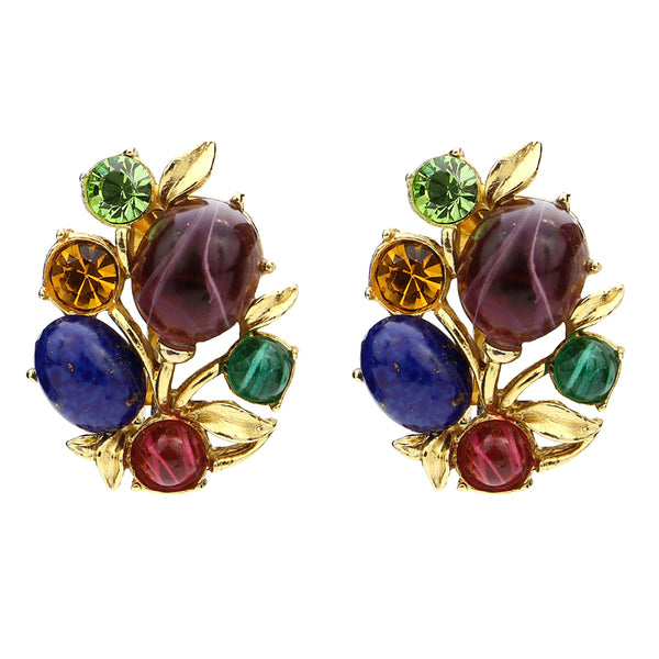 Victoria Multicolor Crystal Cluster Clip Earrings | Luxury Earrings | Beautiful Earrings | Statement Earrings | Swarovski Crystal | Clip On | Ben-Amun