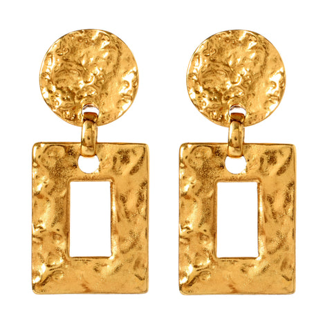 Classic Gold Square Drop Clip Earrings | Angular Earrings | Square Earrings | Clip On Earrings | Gold Earrings | Statement Earrings | Architectural Earrings | Ben-Amun