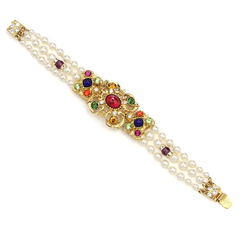 Victoria Multicolor Crystal Pearl Bracelet | Wedding Jewelry | Bridal Jewelry | Statement Bracelet | Luxury | Beautiful | Fashion | Swarovski | Ben-Amun