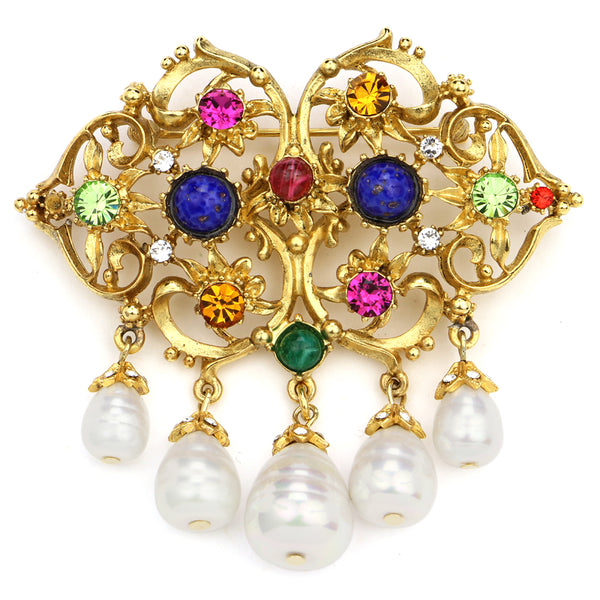 Victoria Multicolor Crystal Pearl Statement Brooch | Gold Brooch | Gold Pin | Statement Pin | Statement Brooch | Beautiful Brooch | Colorful Brooch | Colorful Pin | Ben-Amun