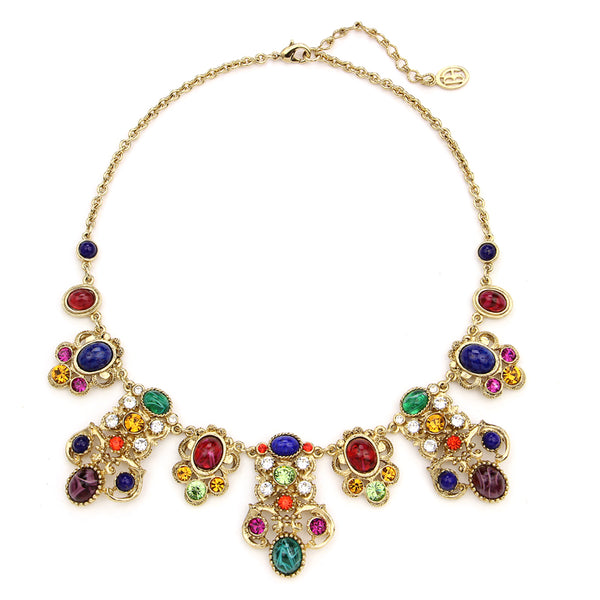 Victoria Multicolor Crystal Pendant Drop Necklace | Statement Necklace | Colorful Necklace | Beautiful Necklace | Luxury | Swarovski | Ben-Amun