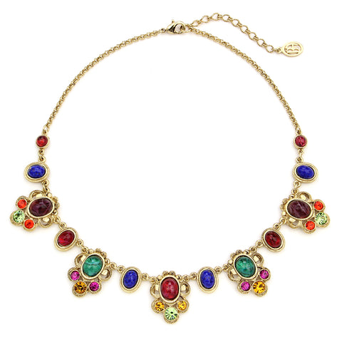 Victoria Multicolor Crystal Petite Pendant Drop Necklace | Statement Necklace | Colorful Necklace | Beautiful Necklace | Festive Necklace | Ben-Amun