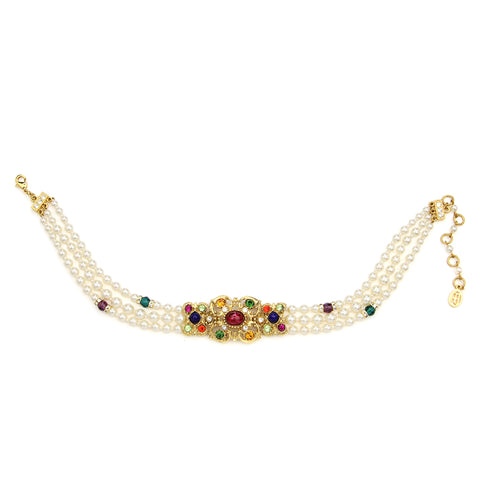 Victoria Multicolor Crystal Pearl Choker Necklace | Statement Jewelry | Beautiful Jewelry | Swarovski | Ben-Amun