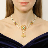 Victoria Multicolor Crystal Pearl Chandelier Pendant Drop Necklace | Ben-Amun