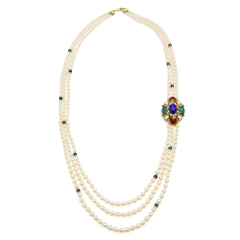 Victoria Multicolor Crystal Station Long Pearl Necklace | Ben-Amun