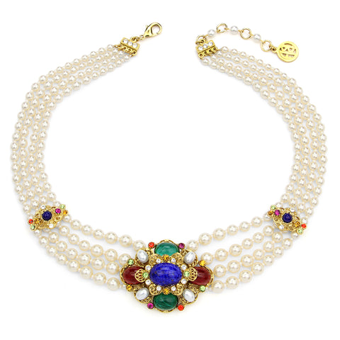 Victoria Multicolor Crystal Station Necklace | Ben-Amun