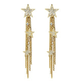 Rock Star Crystal Gold Tassel Drop Earrings