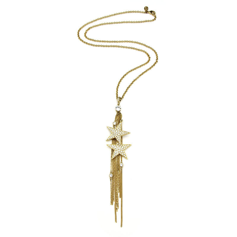 Rock Star Crystal Gold Tassel Necklace - Ben-Amun