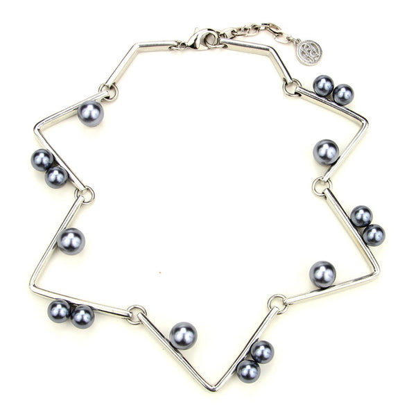Modern Pearl Geometric Necklace with Pearls - Ben-Amun