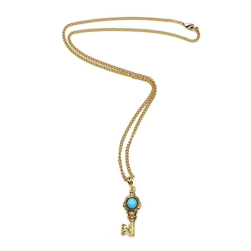 The Art of Layering Vintage Key Turquoise Stone Necklace | Ben-Amun Jewelry | Best Everyday Jewelry | Key Shaped Pendant | Key Shaped Charms | Key Necklace Gold | Key Pendant Necklace | Vintage Key Necklaces | Small Key Necklace | Skeleton Key | Layering Necklaces | Dainty Jewelry | Key to My Heart | The Secret Garden | Handmade Jewelry