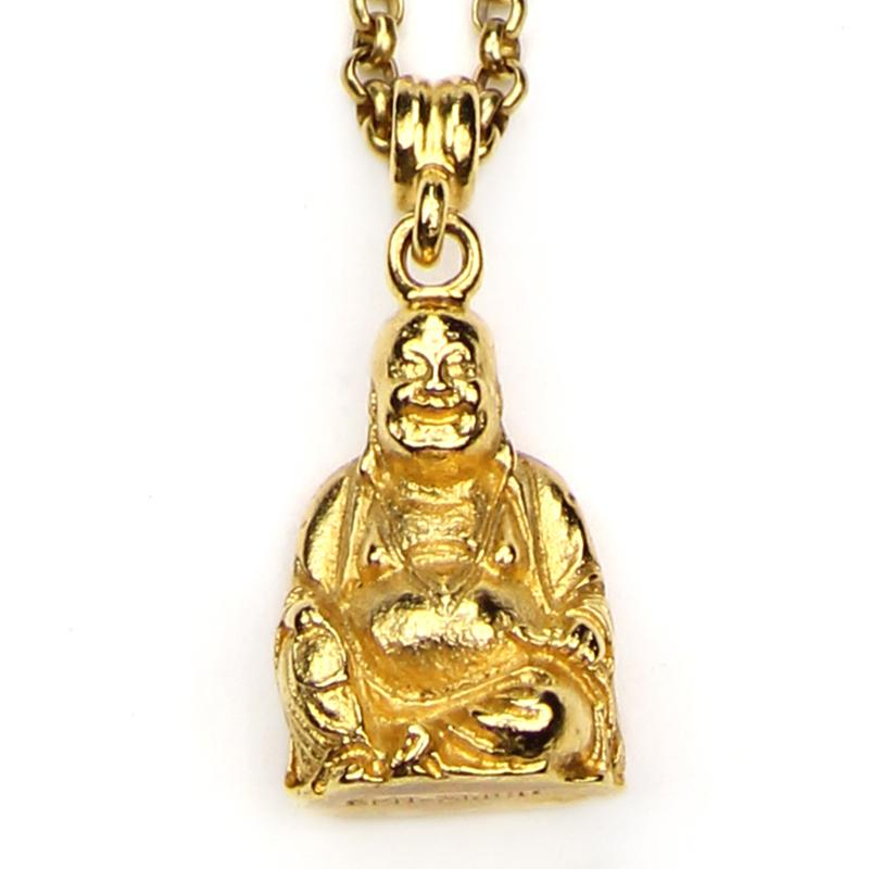 The Art of Layering Buddha Necklace | Ben-Amun Jewelry | Buddha Pendant Gold | Tiny Buddha | Golden Buddha | Laughing Buddha | Dainty Charm Necklace | Buddha Lucky Charm | Gold Asian Necklace | Gold Chain | Delicate Charm Necklace