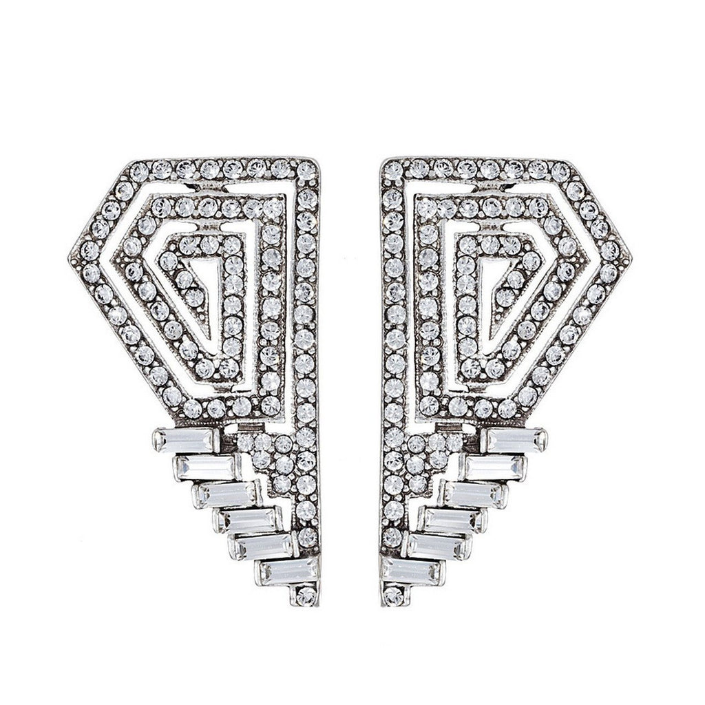 Deco Crystal Geometric Earrings - Ben-Amun