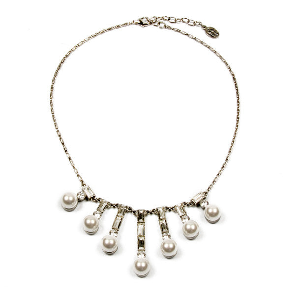 Crystal Pearl Baguette Necklace - Ben-Amun