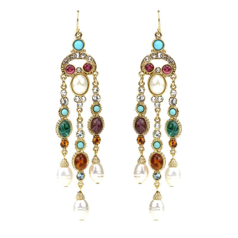 Byzantine Pearl Long Chandelier Earrings - Ben-Amun