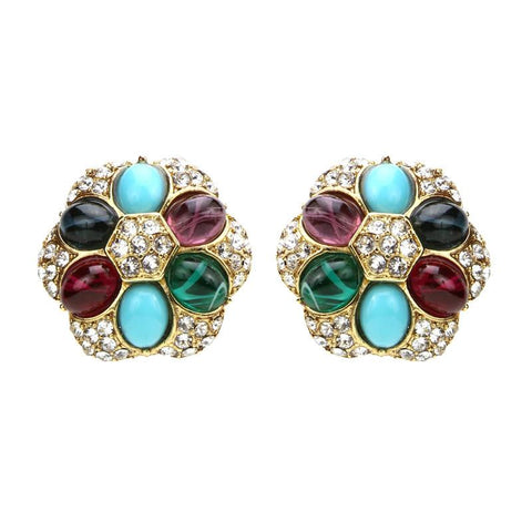 Byzantine Pearl Crystal Clip On Earrings - Ben-Amun