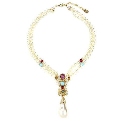 Byzantine Pearl Drop Crystal Necklace - Ben-Amun