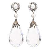 Pure Clear Swarovski Lucite Drop Clip Earrings - Ben-Amun