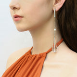 Pure Clear Swarovski Lucite Linear Post Earrings - Ben-Amun
