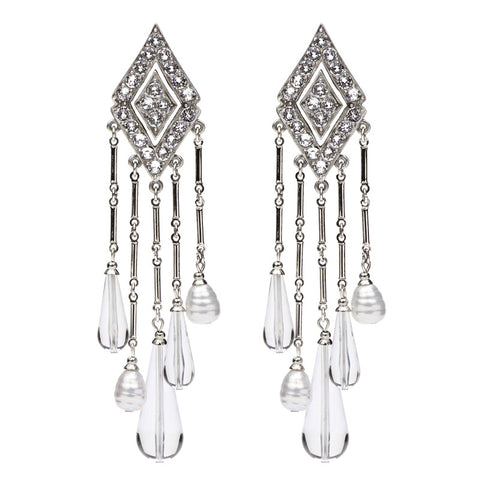 Pure Clear Diamond Swarovski Lucite Clip Earrings - Ben-Amun