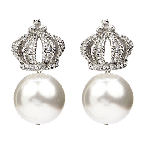 White Bubble Pearl Crown Earrings