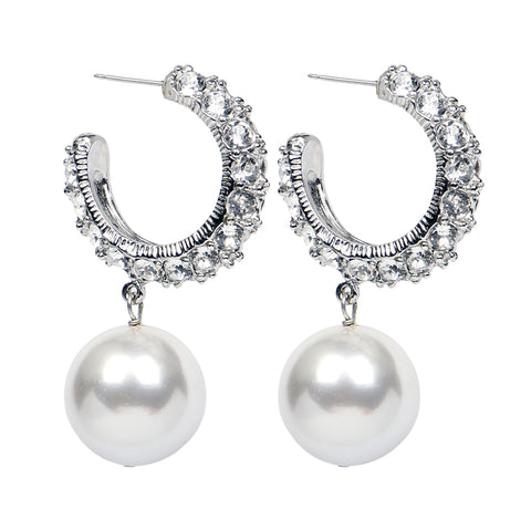 White Bubble Pearl Hoop Earrings