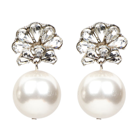White Bubble Pearl Fan Earrings