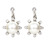 White Bubble Pearl Moon Earrings